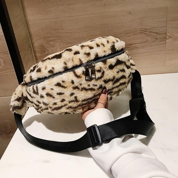 fe6d88eec9 Handbags - Zipper Leopard Faux Fur Waist Belt Bag Fanny Pack